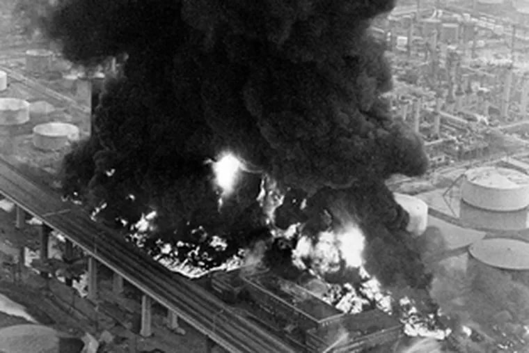 This 11-alarm fire at the Gulf Oil Refinery in 1975 killed eight firefighters in an explosion eight hours after an initial fire had been ruled under control.