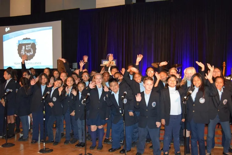 Students perform at the Mastery Charter 15th Anniversary celebration.