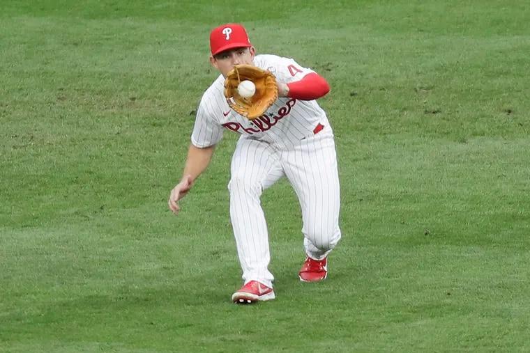 Phillies center fielder Scott Kingery makes a catch against the New York Mets on Aug. 15.
