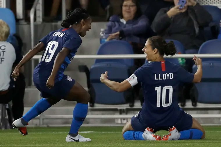 Carli Lloyd scored two goals in the United States women's soccer team's 4-0 win over Chile in San Jose, Calif.