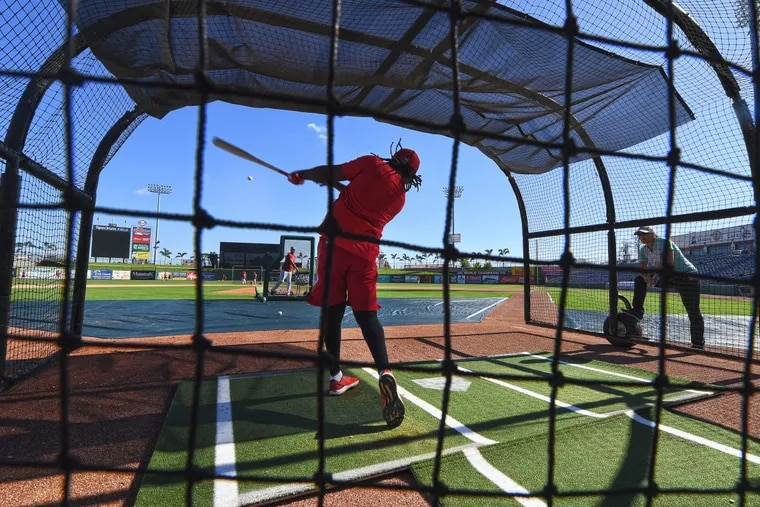 Phillies Maikel Franco, hits at batting practice during spring training workouts at Spectrum Field, in Clearwater Florida. Friday, Feb. 16, 2018.