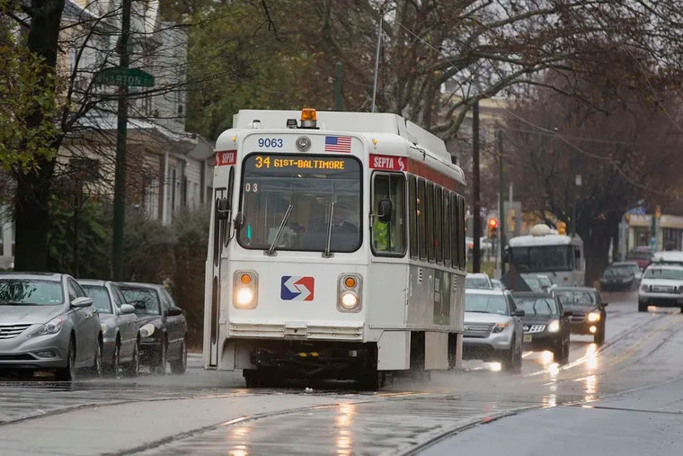 The Route 34 trolley rumbles up Baltimore Avenue near 60th Street.