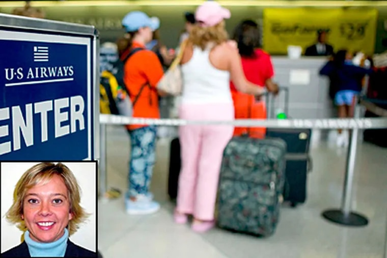 Travelers wait to check in at the Philadelphia airport in this file photo. Kathy Parker (inset) of Elkton, Md., says TSA screeners searched through receipts and checks in her wallet. (File)
