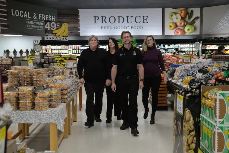 The Croppers (from left) John; his wife, Connie; their son, Chad; and daughter Melissa Cropper-Fazio in their family store, Crops Fresh Marketplace, in Chester County.