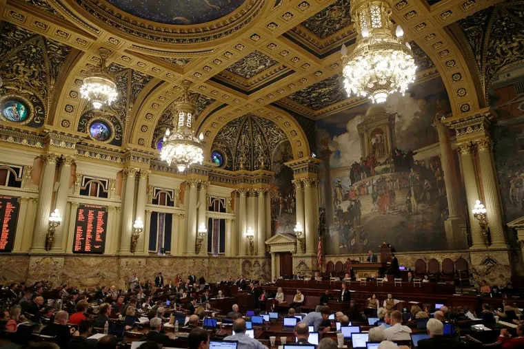 Members of the Pennsylvania House of Representatives debate, Wednesday, Oct. 7, 2015, at the state Capitol in Harrisburg, Pa. Gov. Tom Wolf's tax proposal is being debated in the state House of Representatives in the first-term Democrat's effort to break Pennsylvania's 3-month-old budget impasse. (AP Photo/Matt Rourke)
