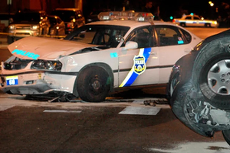 Cop was hurt and 3 cars were damaged in this crash at 6th & Spring Garden early Saturday.