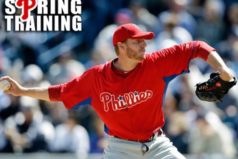 """""""Obviously, opening on the road is not ideal."""" Roy Halladay said of baseball's expanded playoffs. (Matt Slocum/AP)"""