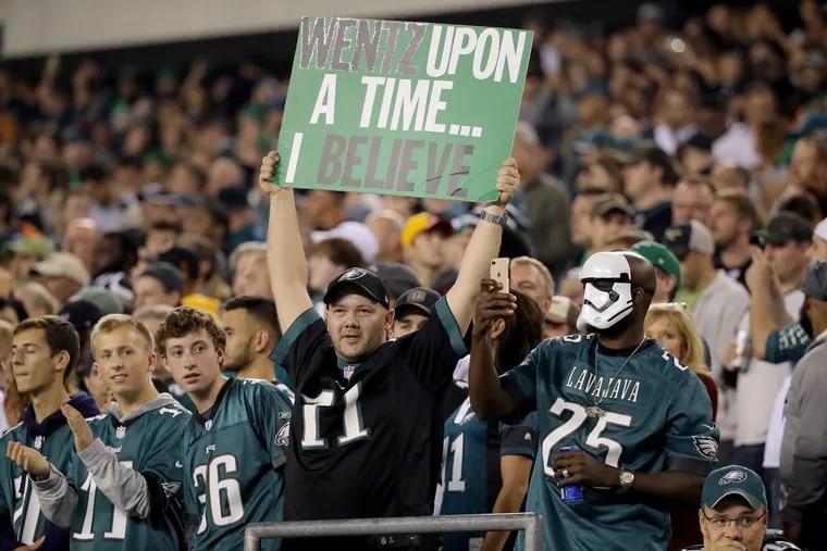 Eagles' fans cheer as the Philadelphia Eagles play the Washington Redskins in Philadelphia, PA on October 23, 2017. DAVID MAIALETTI / Staff Photographer