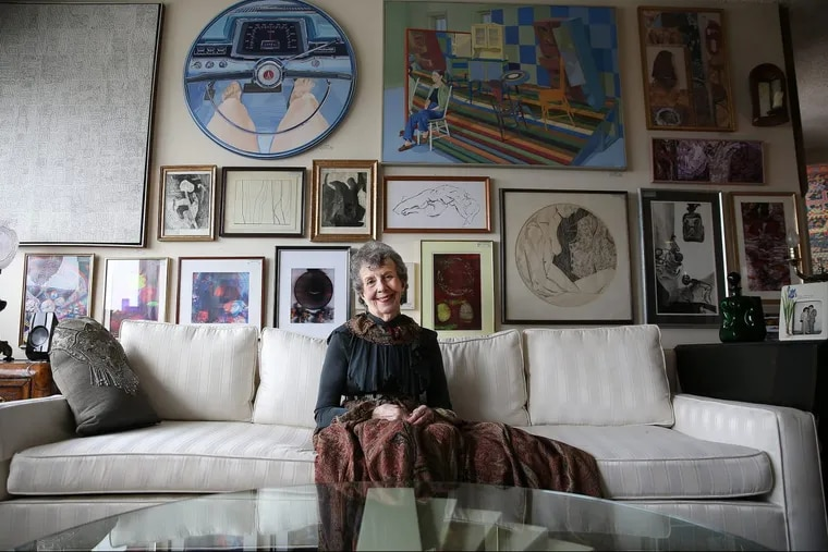 Artist Myrna Bloom has turned her one-bedroom apartment at the Watermark at Logan Square into a gallery for her art.