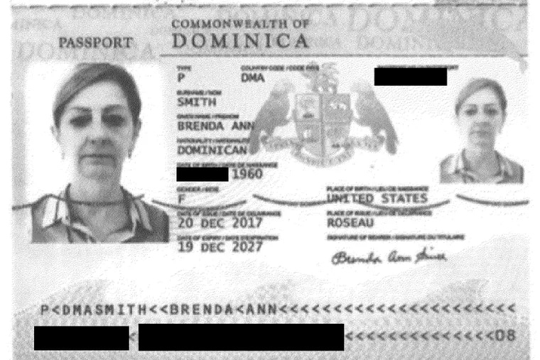 A page from Brenda A. Smith's passport issued by the Caribbean nation of Dominica. Smith was being held Aug. 28, 2019 at the Essex County Jail in New Jersey on charges related to a Ponzi scheme that rooked clients out of $63 million.