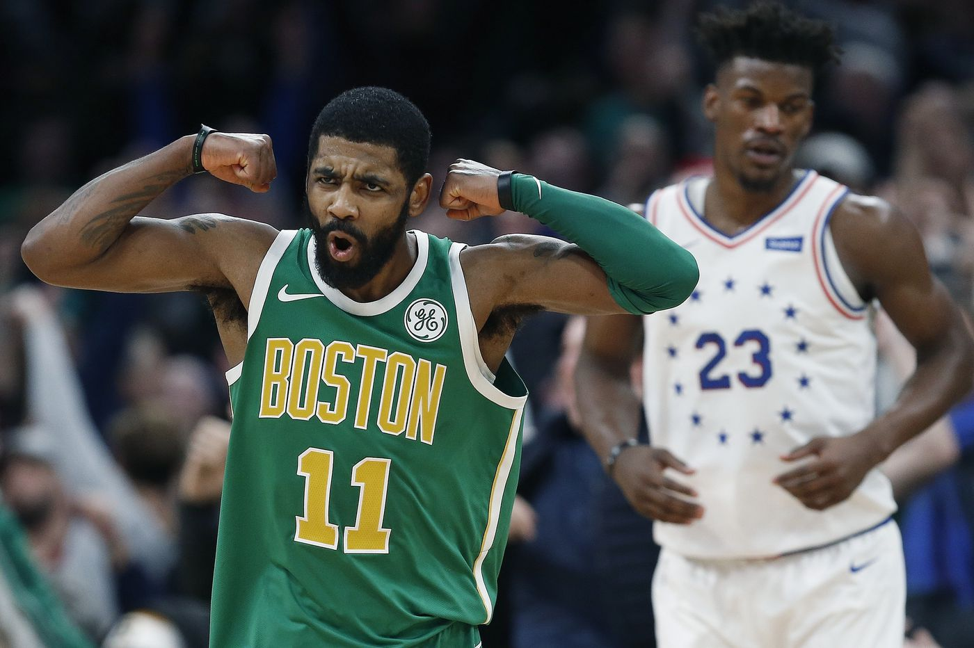 Sixers blow lead, lose to Celtics 121-114 in OT as Kyrie Irving's 40 points top Joel Embiid's 34