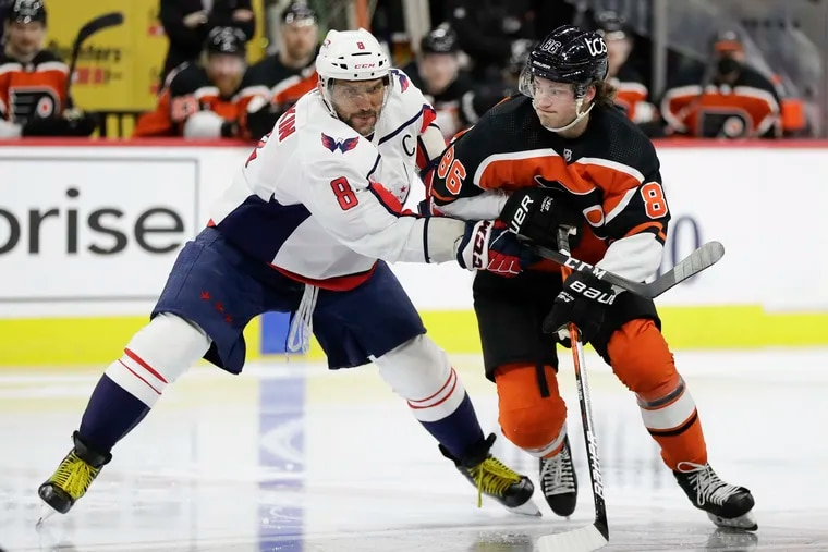 The emergence of Flyers right winger Joel Farabee, battling for position against Washington Capitals winger Alex Ovechkin, has been the team's best story in the season's first half.