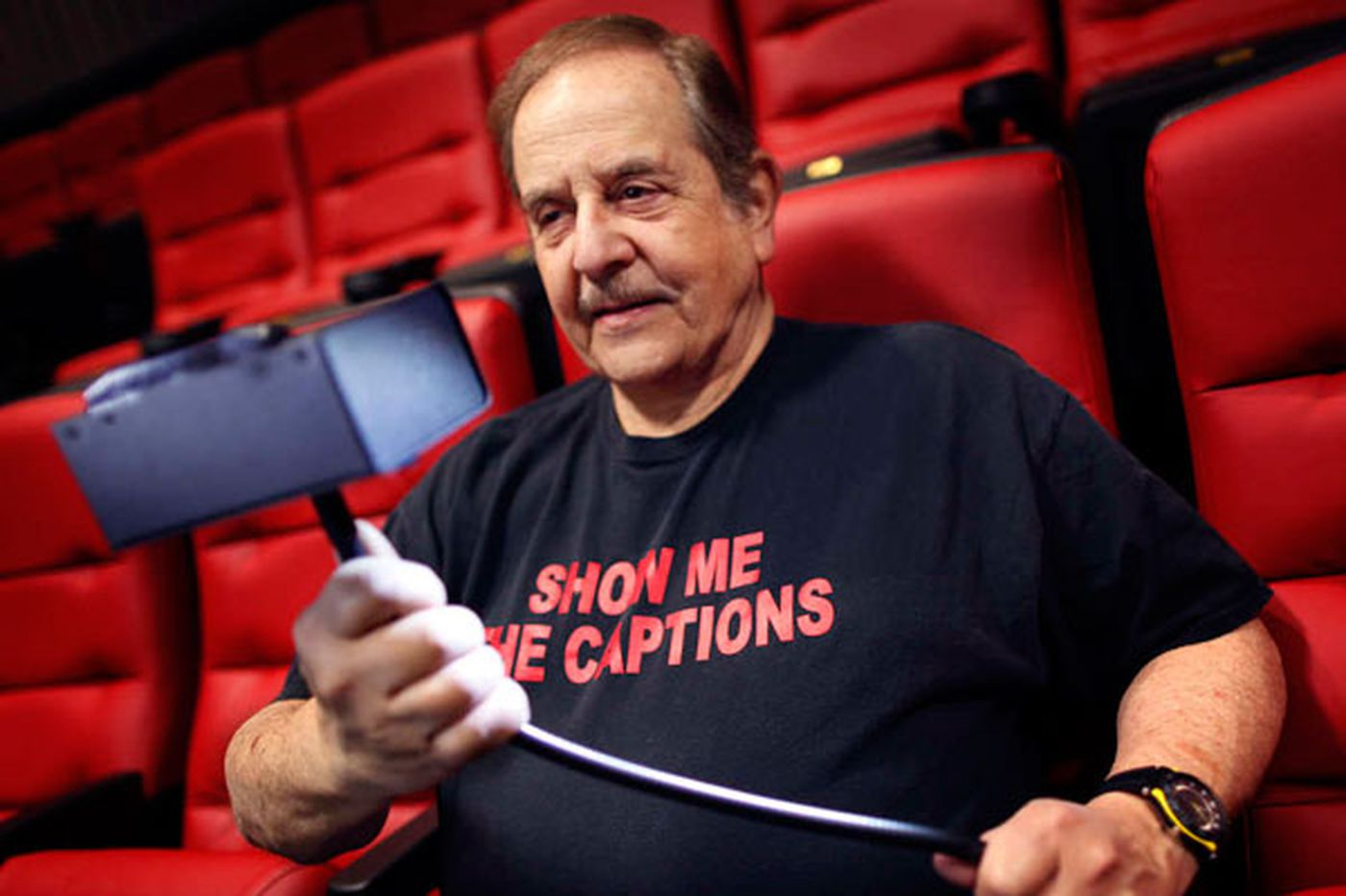 At the movies, caption devices help the hearing-impaired