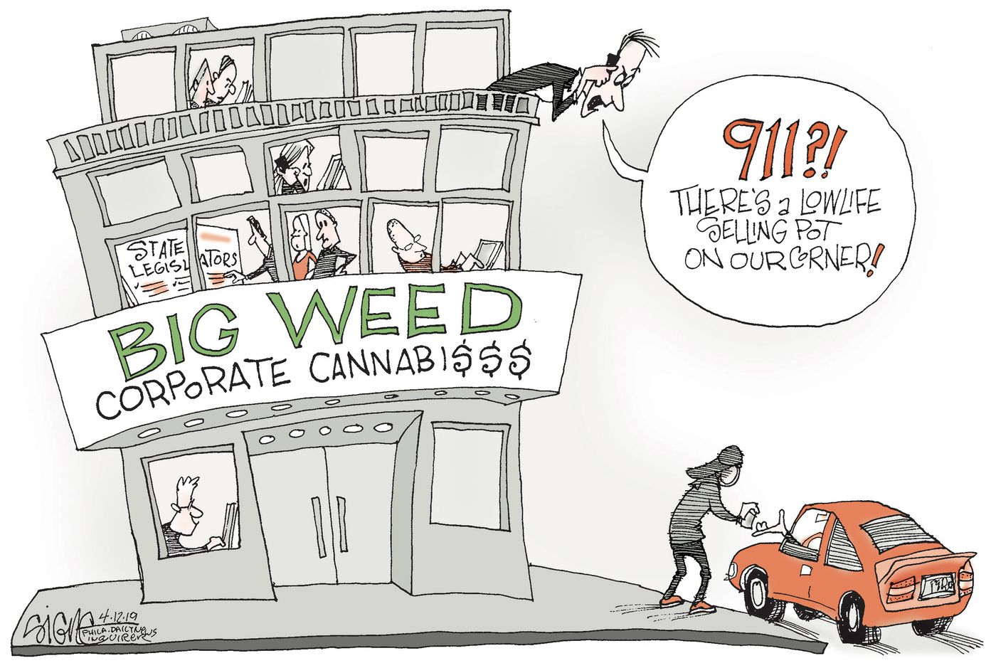 Political cartoon: Big Weed weeds out the little guy