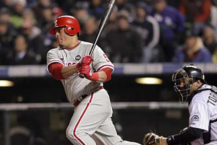 Carlos Ruiz has played his best baseball in the playoffs each of the last two season. (Yong Kim / Staff Photographer)