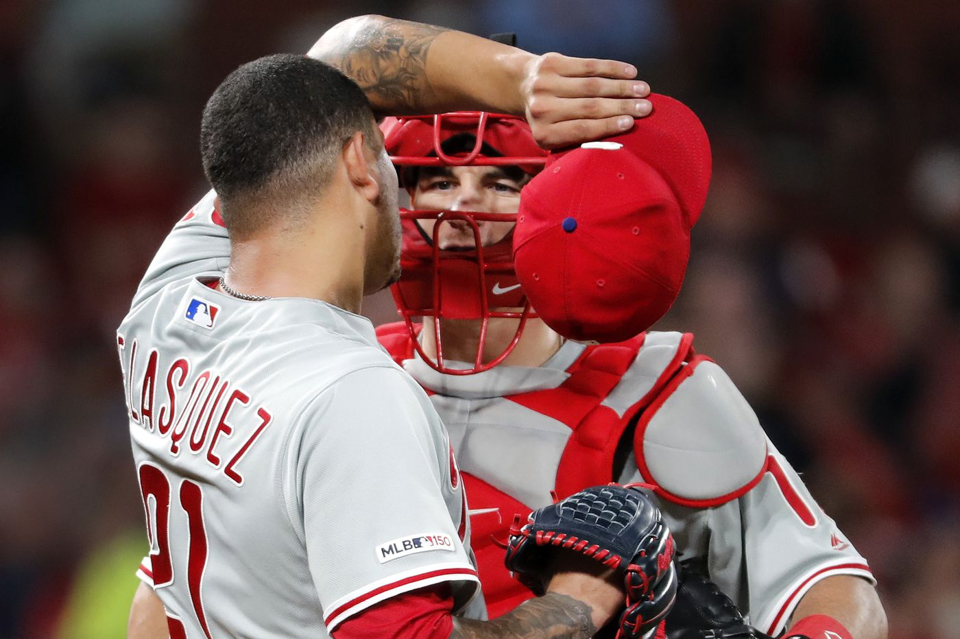 Vince Velasquez doesn't follow catcher J.T. Realmuto's lead, serves up three homers in Phillies' loss to Cardinals