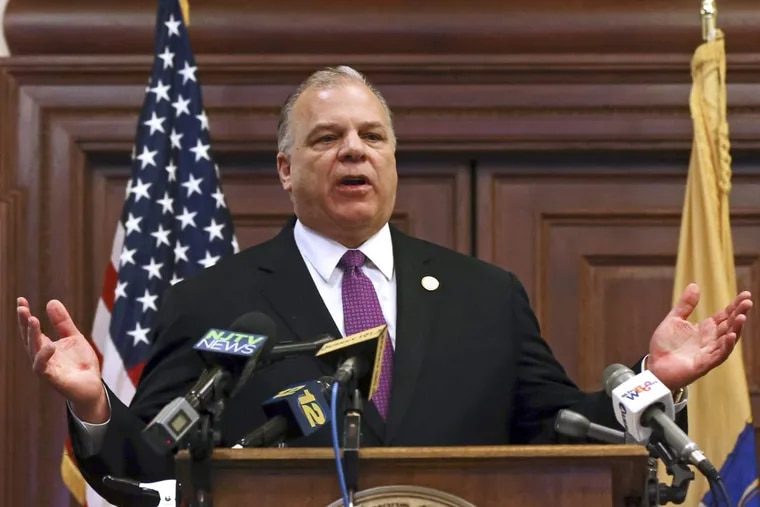 FILE – In this Dec. 10, 2015, file photo, New Jersey Senate President Steve Sweeney, D-West Deptford, N.J., says he will push for a constitutional amendment requiring the state to make quarterly public pension payments despite Gov. Chris Christie's opposition, while speaking to a gathering at the Statehouse in Trenton, N.J.  (AP Photo/Mel Evans, File)