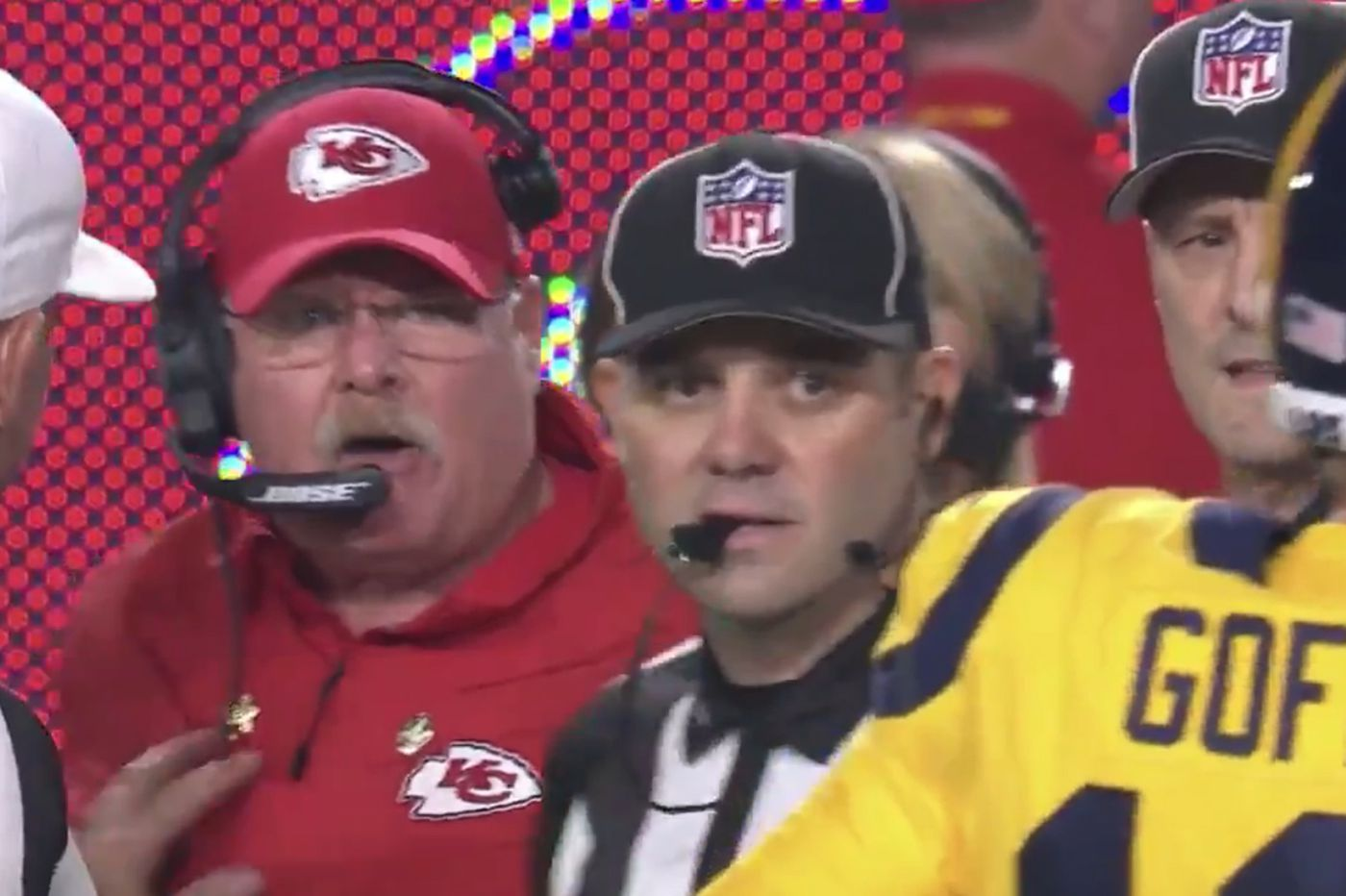 Andy Reid gets angry at NFL's 'all-star' refs, yells at Jared Goff instead during Rams-Chiefs