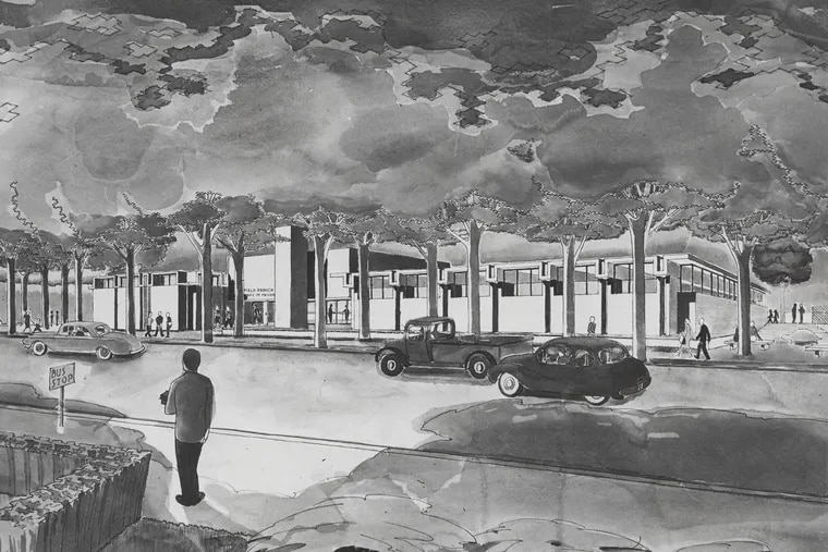 An early rendering of the Wynnefield branch library, which was designed by Montgomery, Bishop & Arnold and opened in 1964.