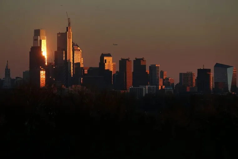The Center City skyline, photographed from West Fairmount Park in January.