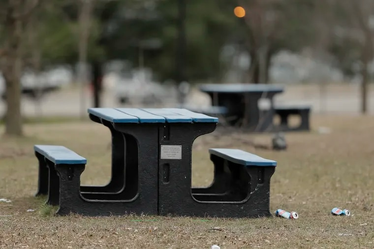 Subaru has a program that turns recycled plastics in to benches, picnic tables and playground equipment. These picnic tables, donated by Subaru, were photographed in Dudley Park, Camden on January 24, 2019.