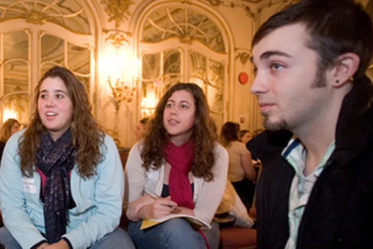 Arcadia students (from left), Jennifer Cardinale, Courtney Knowlton and Ryan Young discuss foreign study in Spain.