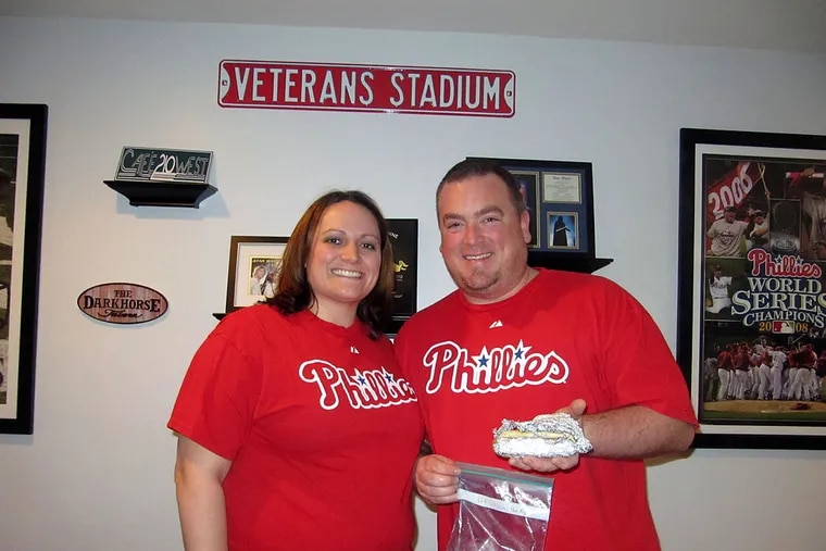 Steve and Mandy Dunne of Westminster, Md., have preserved a hot dog that Steve bought at Veterans Stadium in 2003, the last year the Phillies played there.