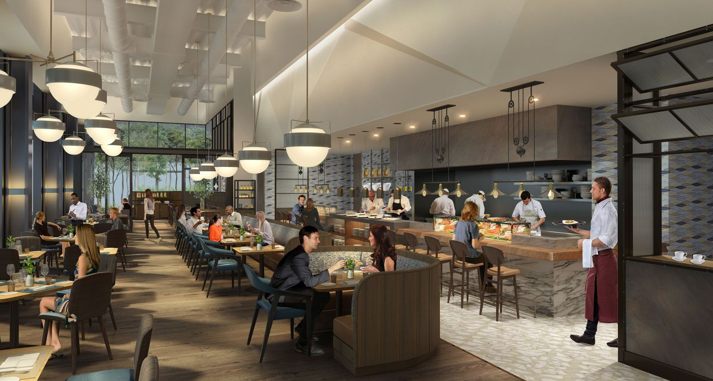 Tihany Design S Rendering Of Dining Room With Chef Counter Oyster Bar At Vernick