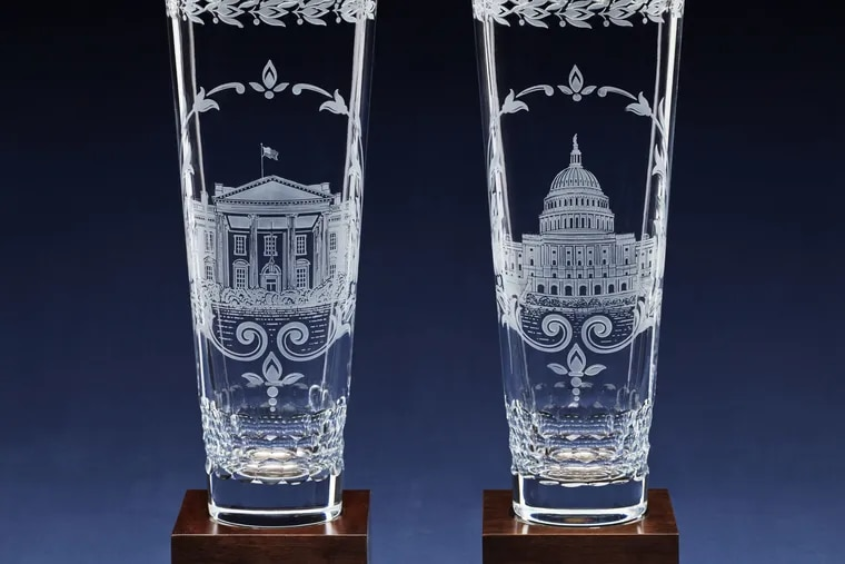Lenox Corp. on behalf of the American people gifts custom-made one-of-a-kind engraved crystal vases to the president and vice president.