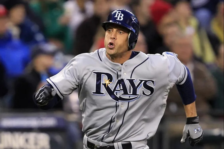 The Tampa Bay Rays' Gabe Kapler races home to score a run in a May 2010 game.