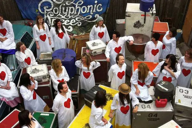 """""""Kind of like 'Laugh-In' """": The Polyphonic Spree, based in Dallas, brings its Holiday Extravaganza to the Trocadero stage Friday night."""