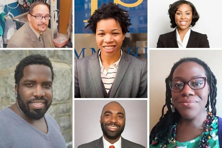 Clockwise from top left: Scott Charles, Rasheedah Phillips, Lauren Footman, Candace McKinley, Dwayne Wharton and Abdul-Aliy A. Muhammad.