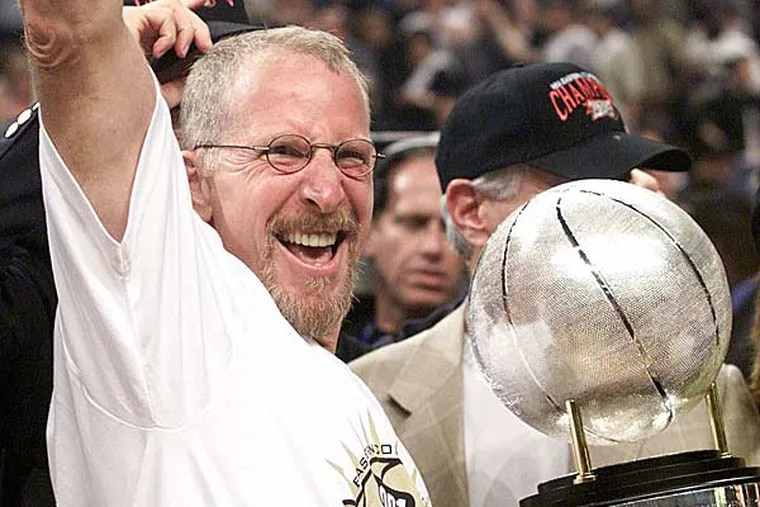 Former 76ers' owner Pat Croce celebrates after his team beat the Milwaukee Bucks 108-91 in game 7 of the Eastern Conference finals Sunday, June 3, 2001 in Philadelphia. (Rusty Kennedy/AP)