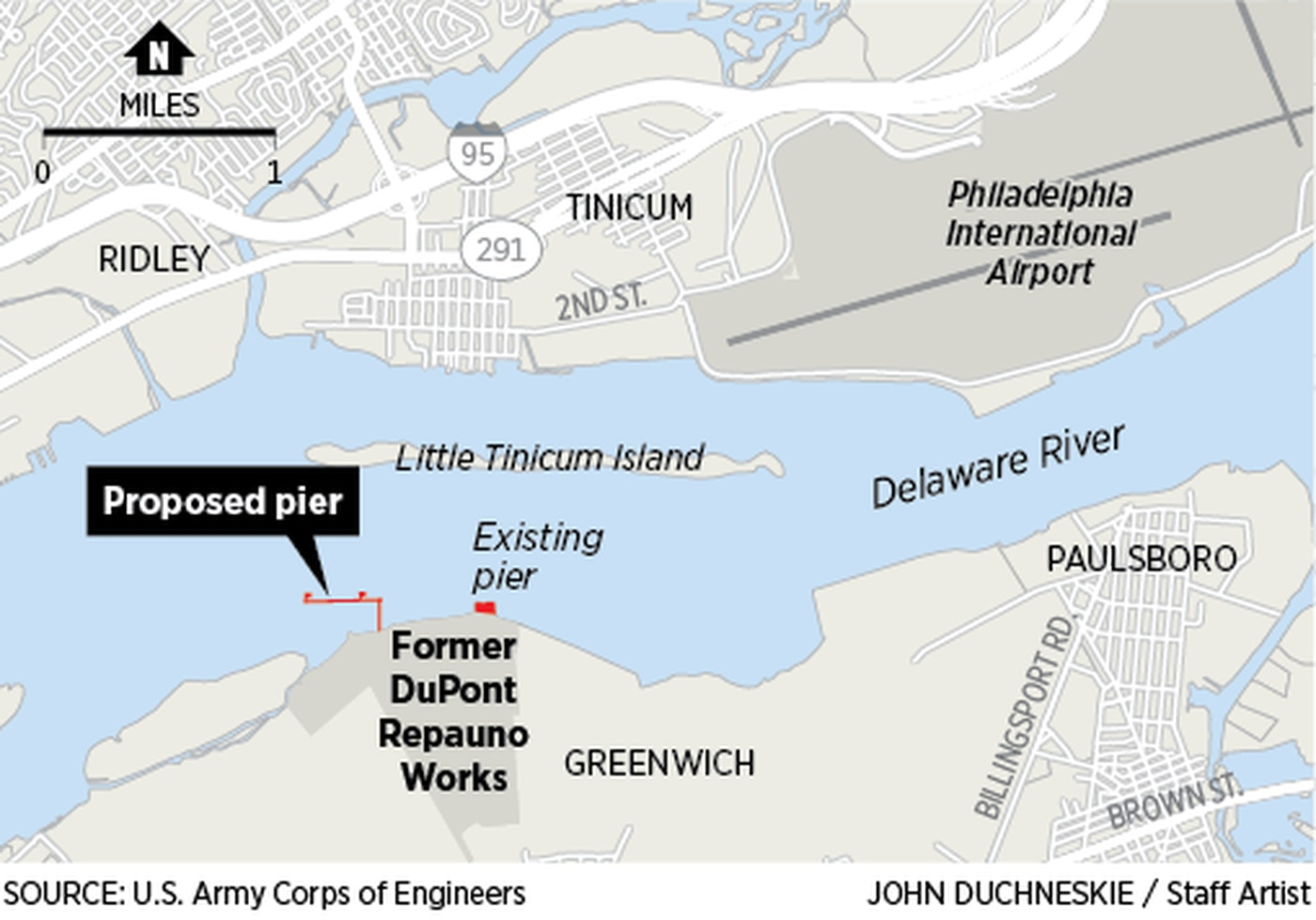 Locator map of former DuPont Repauno Works plant, site of a planned gas terminal on the Delaware River