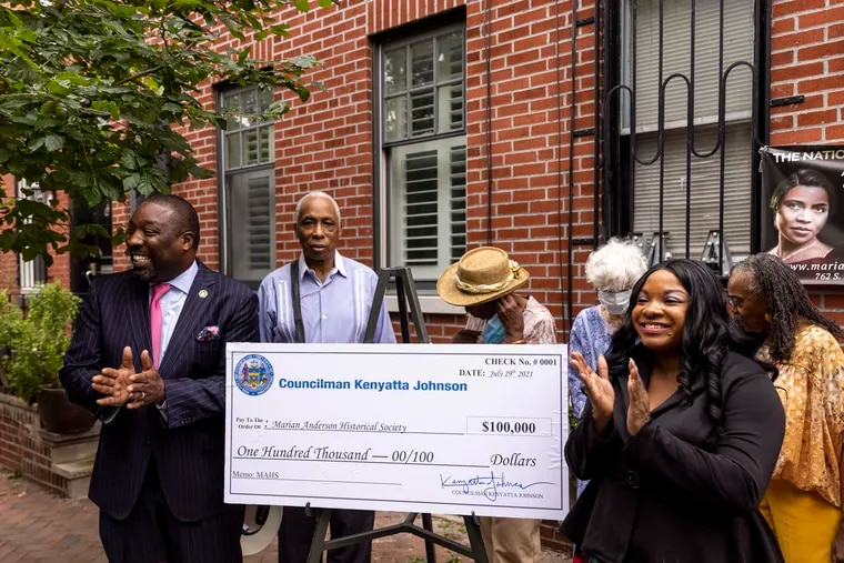 Philadelphia City Councilmember Kenyatta Johnson and Marian Anderson Museum and Historical Society CEO Jillian Patricia Pirtle gathered Thursday with board members and a ceremonial $100,000 check to the Marian Anderson museum.