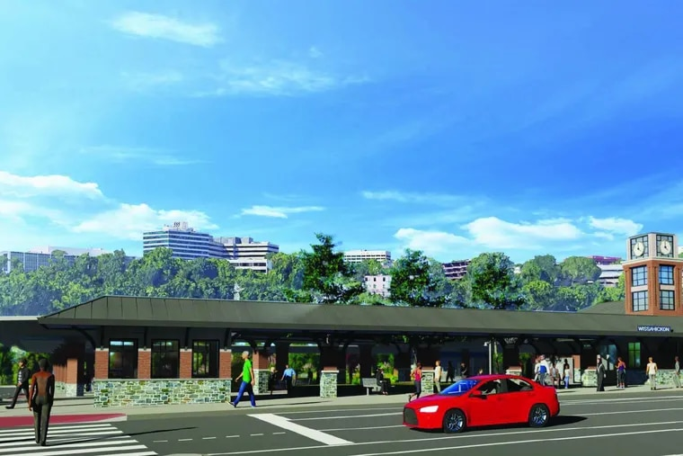 This rendering shows the latest design for the new Wissahickon Transportation Center on Ridge Avenue in Manayunk. The design is meant to evoke late 19th Century train stations designed by Frank Furness for the Pennsylvania Railroad, as well as the iconic Manayunk bridge.