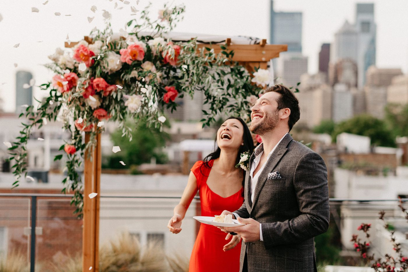 A rooftop ceremony and party, with a reception still to come