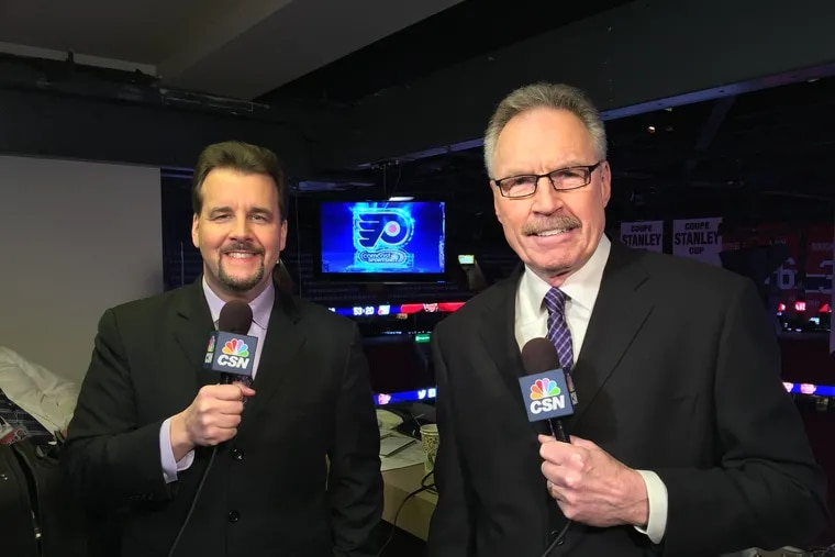 Flyers broadcasters Bill Clement (right) and Jim Jackson. Clement, 70, who played on the Flyers' Stanley Cup champions in 1974 and 1975, is retiring after a long and distinguished broadcasting career.