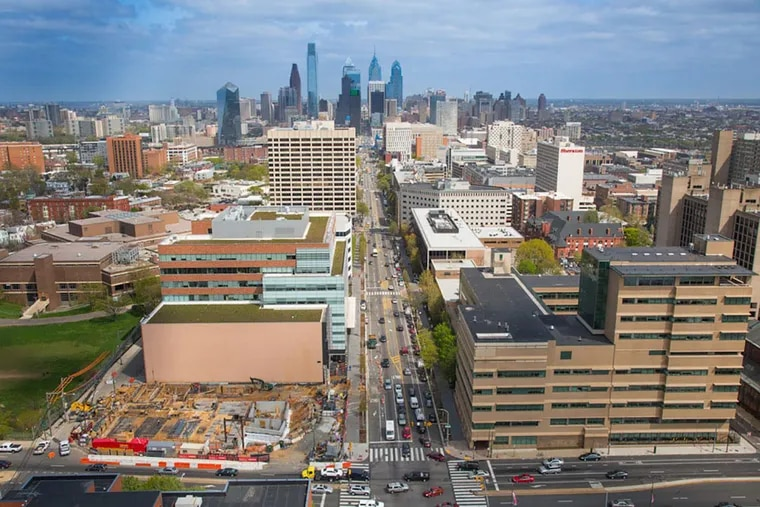The University City Science Center complex stretches east toward Center City along both sides of Market Street from 38th Street  (foreground) to 34th Street . This fall and winter, the center plans to shut 20,000 square feet of lab space at 3711 Market St. and 3624 Market St.  At the same time, a large new center tenant is opening 22,000 square feet of new lab space — at much higher rents — at the center's 3675 Market St. building. Some startups are crying foul.