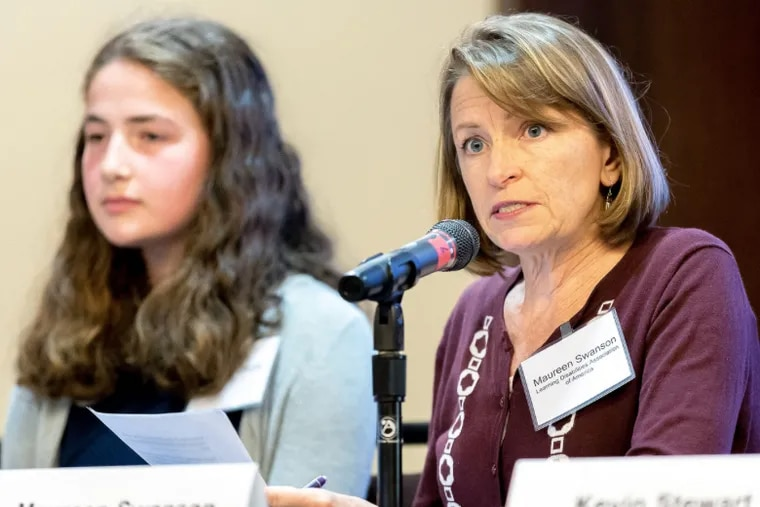 Maureen Swanson of the Learning Disabilities Association of America gives testimony at an EPA public hearing on its proposal to roll back clean car standards in Pittsburgh Sept. 26, 2018.