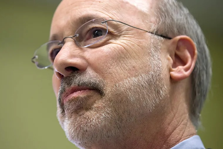 Pennsylvania Gov. Tom Wolf listens to students during a visit to Coughlin High School in Wilkes-Barre, Pa. on Wednesday, Feb. 18, 2015.