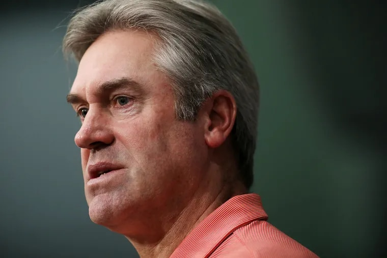 Eagles coach Doug Pederson speaks during a news conference at the NovaCare Complex in January.