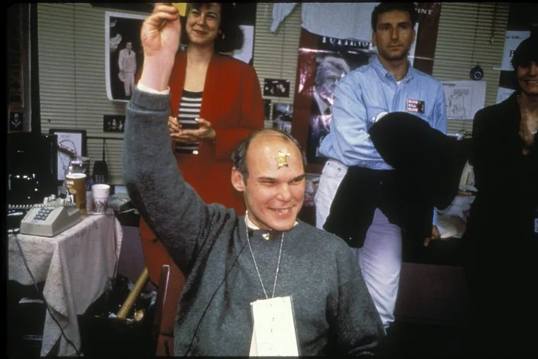 """A jubilant James Carville anticipates Bill Clinton's victory in the Little Rock war room on election night in 1992 in a scene from the film """"The War Room."""""""