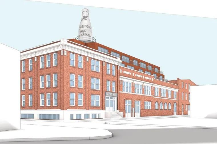 Artist's rendering of Harbison's dairy building after renovations.