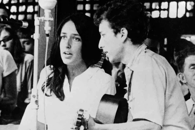 Ringing in the changes: Bob Dylan, above, with Joan Baez at the Newport Jazz Festival in 1963 and, below from left, at another show that year; in New York's Madison Square Garden in 1974; and in Pawtucket, R.I., in 2006. His reputation as a living legend in music is secure and then some, yet he continues to tour tirelessly, and unlike many other acts, he avoids indulging fans with faithful nostalgia performances.