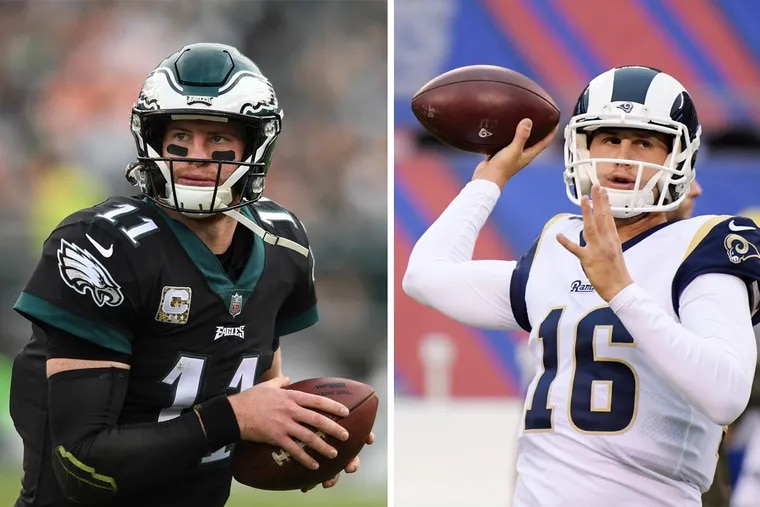 The highly anticipated Week 14 face-off between Eagles quarterback Carson Wentz (left) and Rams quarterback Jared Goff could end up in prime time.