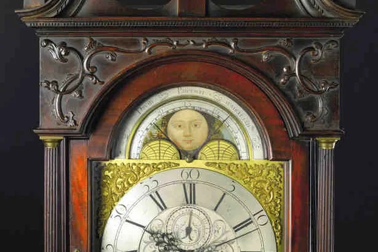 Potentially a million-dollar clock, this circa 1770 Philadelphia masterpiece is attributed to John Pollard. The mahogany clock has an untouched surface and will be sold Jan. 22.