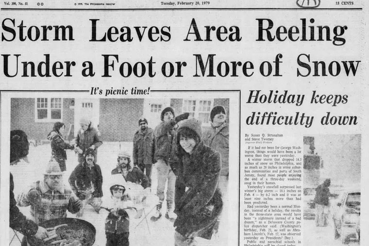 Inquirer front page on the day after the Presidents' Day snowstorm of 1979.