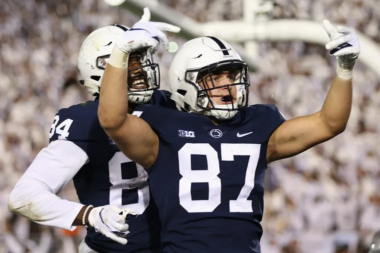 Penn State tight end Pat Freiermuth (87) celebrates after Freiermuth scoring in the fourth quarter against Ohio State on Saturday. The Nittany Lions didn't win the game, but they did cover.