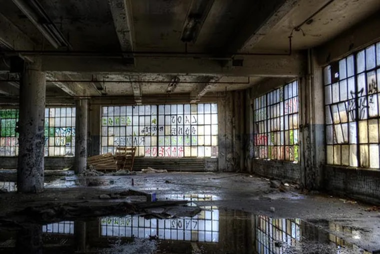 """The """"aging cathedral"""" of Philadelphia's industrial past: the abandoned Budd Co. factory in Hunting Park, which once employed 7,000 workers. TRACY LEVESQUE"""